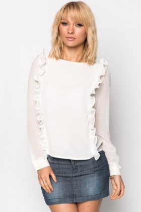 Ruffle Trim Sheer Blouse