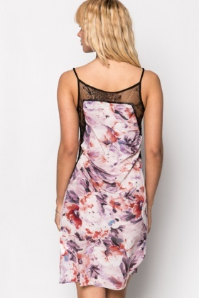 Lace Insert Floral Slip Dress