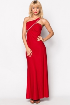 One Shoulder Cut-Out Encrusted Maxi Dress
