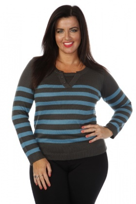 Buttoned V-Neck Nautical Stripe Pullover