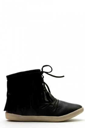 Drawstring Fringed Boots