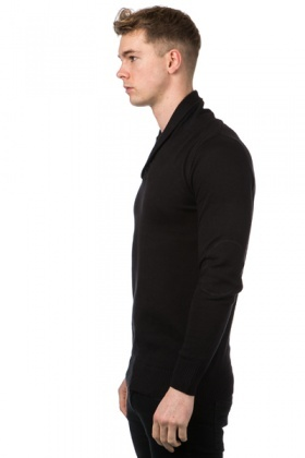 Button Shawl Collar Pullover