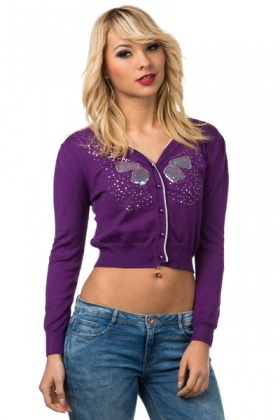 Sequined Butterfly Cropped Cardigan
