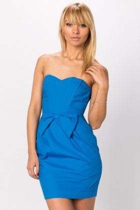 Bandeau Bow & Pleat Dress