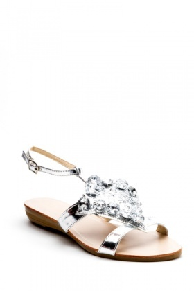 Faux Crystal Strap Flats