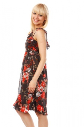 Red Roses Print One Shoulder Dress