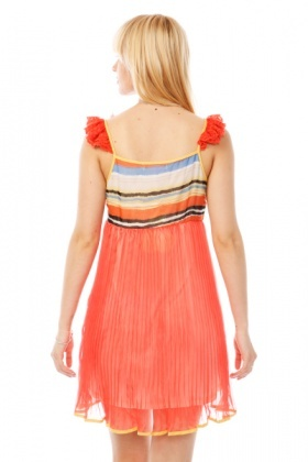 Embellished Shoulder Multicolour Pleated Dress
