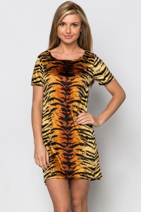 Velveteen Tiger Print Dress