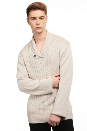 Shawl Collar Cable Knit Jumper