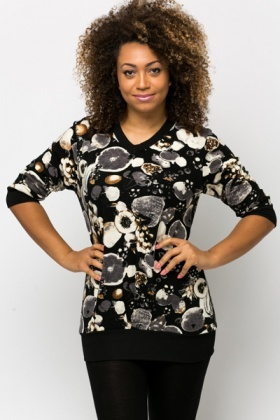 Fleeced Fruit Print Tunic