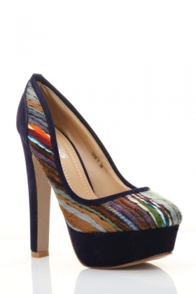 Multicolour Woven Design Platform Shoes