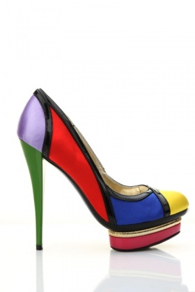 Metal Trim Platform Colour Block Shoes