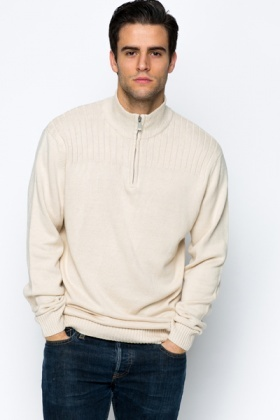 Zip Neck Cotton Blend Pullover
