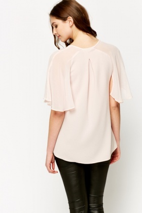 Cut-Out Sheer Sleeve Blouse