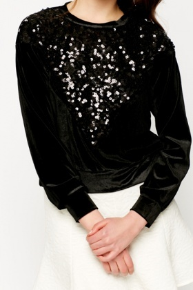 Contrast Sequin Pullover