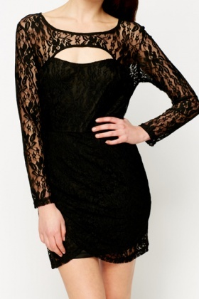 Lace Overlay Cut-Out Dress