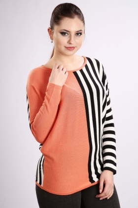 Colour Block Striped Pullover
