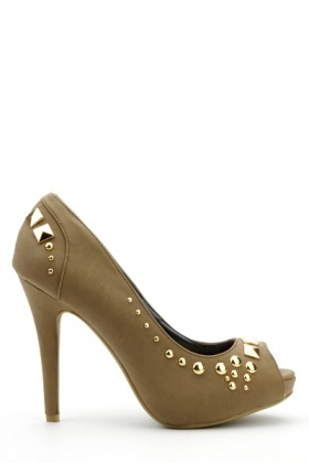 Studded Peep Toe Shoes
