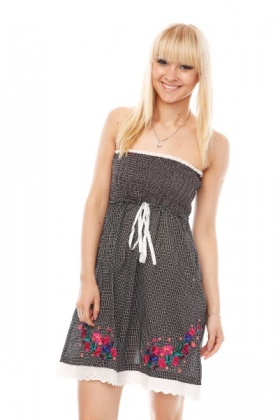 Embroidered Bandeau & Drawstring Dress