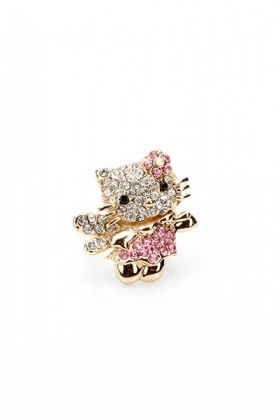 Encrusted Kitty Ring