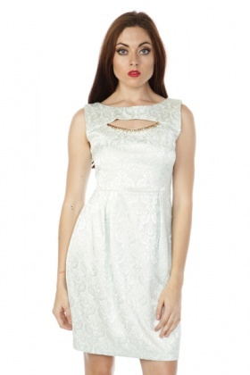 Embellished Neckline Textured Tulip Dress
