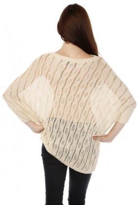 Crochet Knit Golden Stripe Batwing Pullover