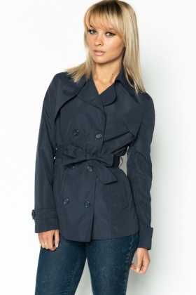 Short Navy Trench Coat