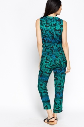 Sleeveless Green Printed Jumpsuit