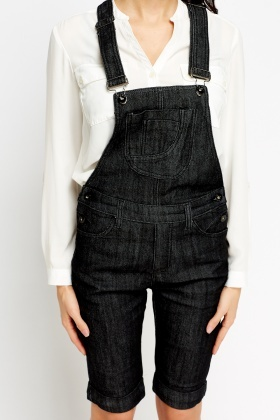 Denim Cropped Dungarees