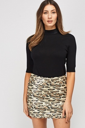 Two Tone Sequin Animal Print Skirt