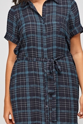 Sheer Navy Shirt Dress