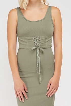 Corset Waist Midi Dress