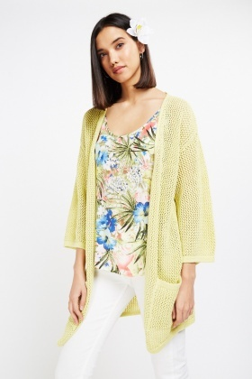 Lime Metallic Loose Knit Cardigan