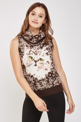 Printed Cat Cowl Neck Knitted Top