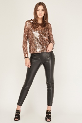 Mock Croc Sequin Front Top