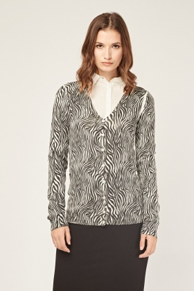 Thin Knitted Mono Printed Cardigan
