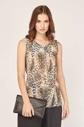 Animal Print Sheer Blouse