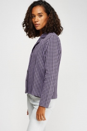 Houndstooth Printed Button Up Blazer