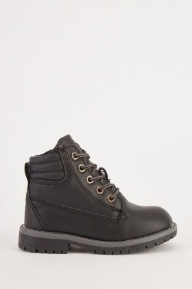 Kids Faux Leather Lace Up Boots