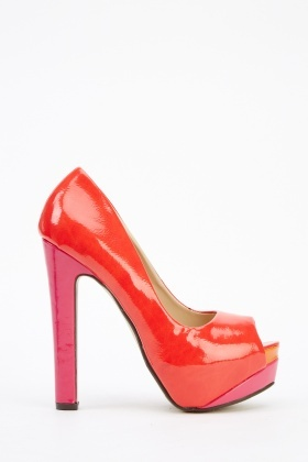 Patent PVC Open Toe Platform Shoes