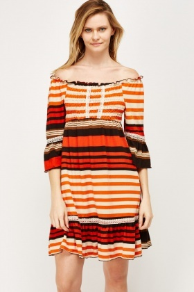 Lace Trim Multi Stripe Tunic