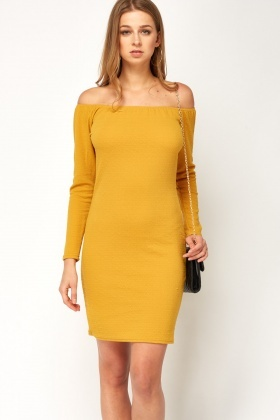 Off Shoulder Textured Bodycon Dress