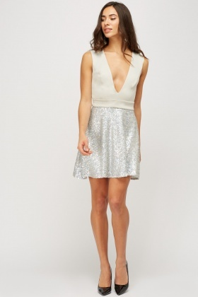 Sequin Contrast Bodice Dress