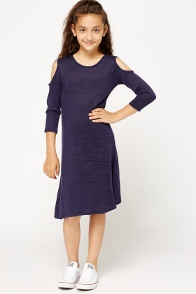 Middle Blue Cold Shoulder Dress