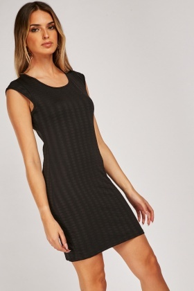 Textured Keyhole Back Dress