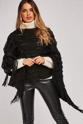 Layered Knit Fringed Poncho