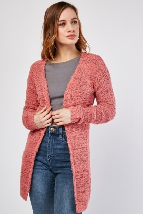 Open Front Borg Knit Cardigan