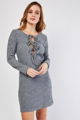 Tie Up Front Mini Ribbed Dress