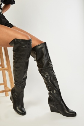Faux Leather Wedge Boots