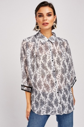 Paisley Printed Sheer Blouse